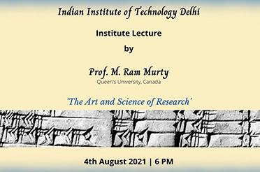 Institute Lecture by Prof. M. Ram Murty, Queens University, Canada.