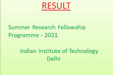 Result of Summer Research Fellowship Programme