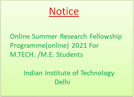 Online SRFP  2021 For M.TECH. /M.E. Students
