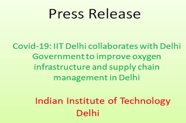 Covid-19: IIT Delhi collaborates with Delhi Government to improve oxygen infrastructure and supply chain management in Delhi